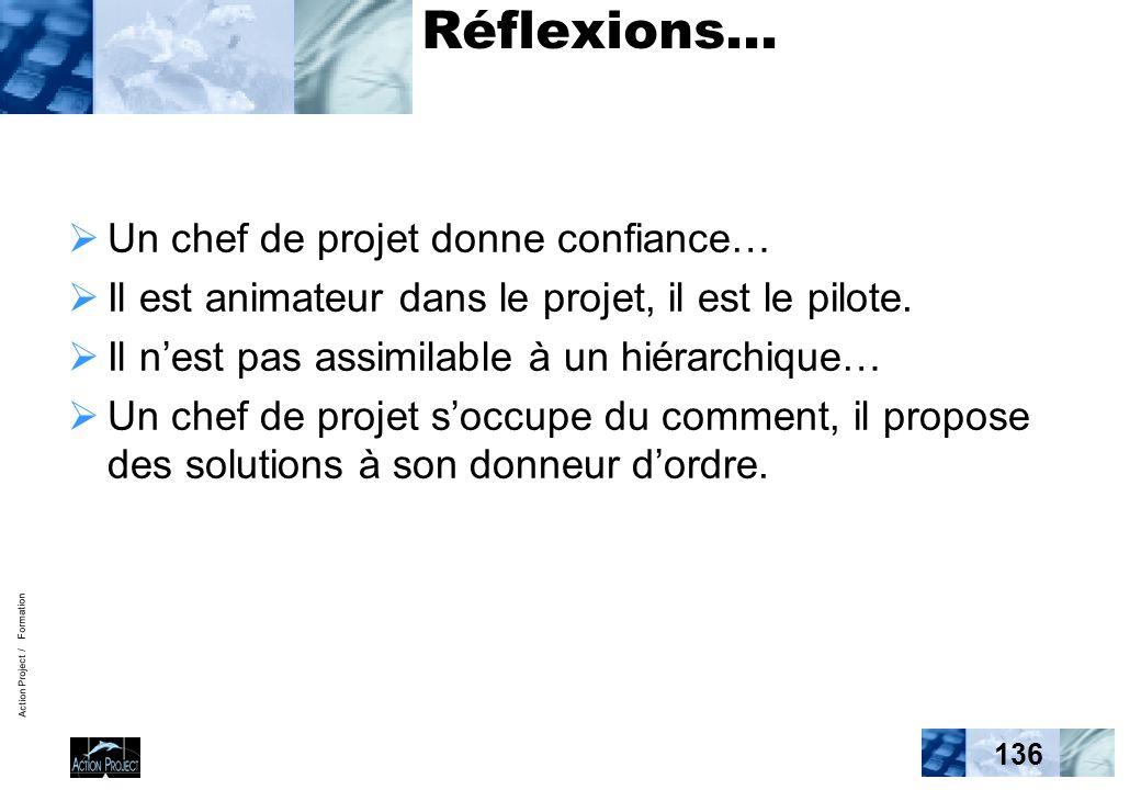 Action Project / Formation 136 Réflexions… Un chef de projet donne confiance… Il est animateur dans le projet, il est le pilote. Il nest pas assimilab