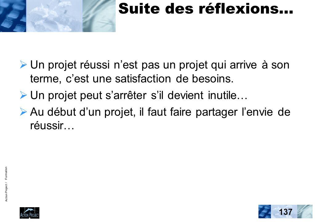 Action Project / Formation 137 Suite des réflexions… Un projet réussi nest pas un projet qui arrive à son terme, cest une satisfaction de besoins. Un
