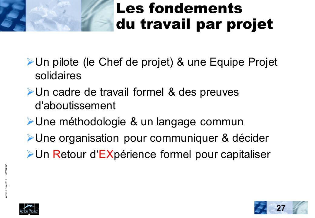 Action Project / Formation 27 Les fondements du travail par projet Un pilote (le Chef de projet) & une Equipe Projet solidaires Un cadre de travail fo