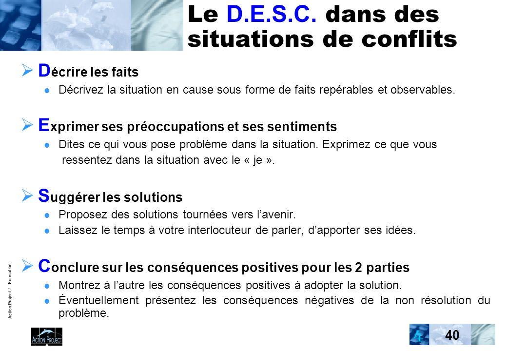 Action Project / Formation 40 Le D.E.S.C. dans des situations de conflits D écrire les faits Décrivez la situation en cause sous forme de faits repéra