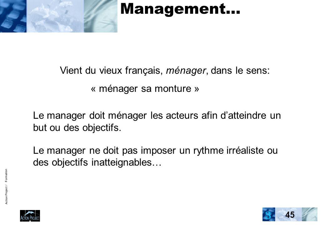 Action Project / Formation 45 Management… Vient du vieux français, ménager, dans le sens: « ménager sa monture » Le manager doit ménager les acteurs afin datteindre un but ou des objectifs.