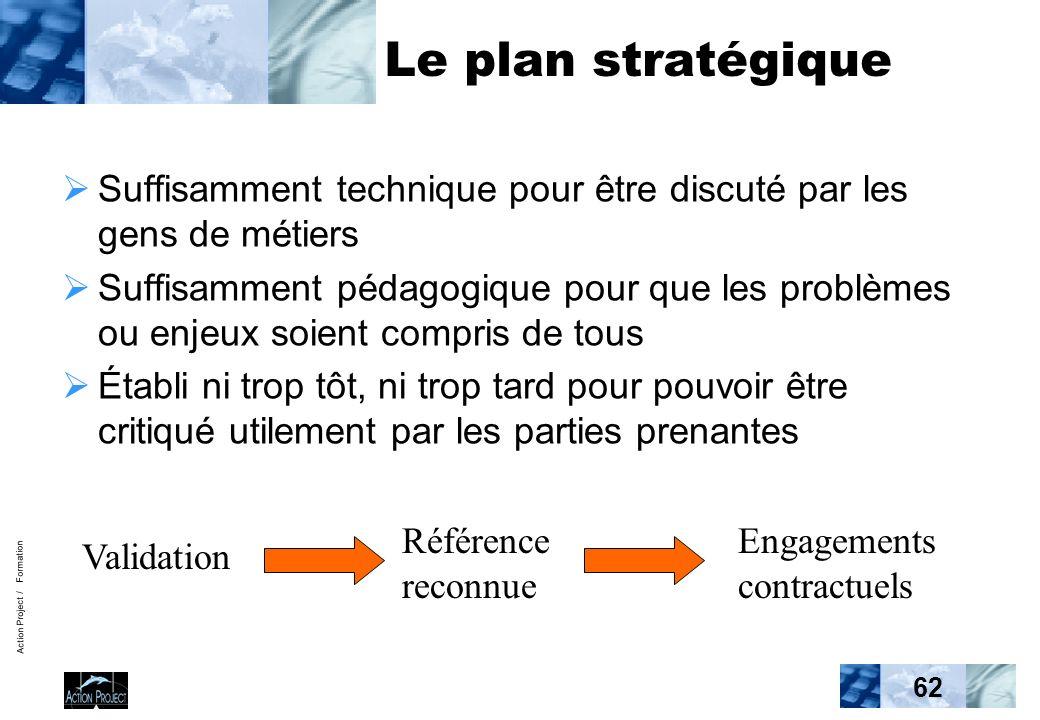 Action Project / Formation 62 Le plan stratégique Suffisamment technique pour être discuté par les gens de métiers Suffisamment pédagogique pour que l