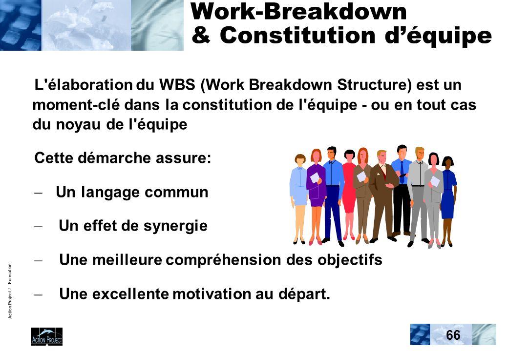 Action Project / Formation 66 Work-Breakdown & Constitution déquipe L élaboration du WBS (Work Breakdown Structure) est un moment-clé dans la constitution de l équipe - ou en tout cas du noyau de l équipe Cette démarche assure: Un langage commun Un effet de synergie Une meilleure compréhension des objectifs Une excellente motivation au départ.
