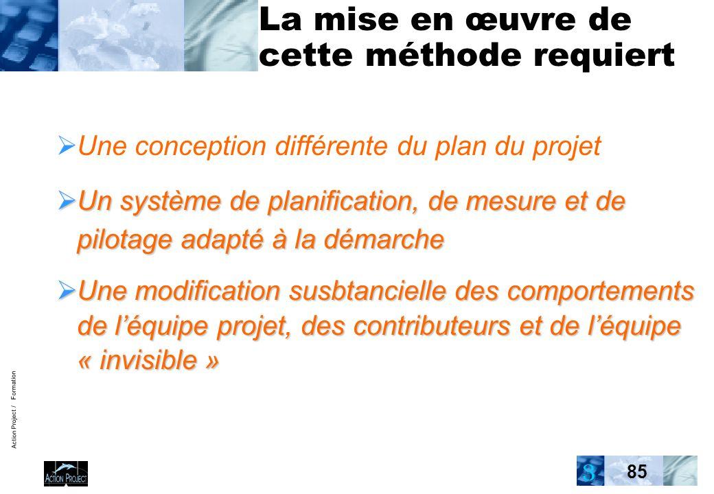 Action Project / Formation 85 La mise en œuvre de cette méthode requiert Une conception différente du plan du projet Un système de planification, de m