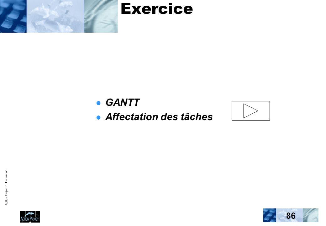 Action Project / Formation 86 Exercice GANTT Affectation des tâches