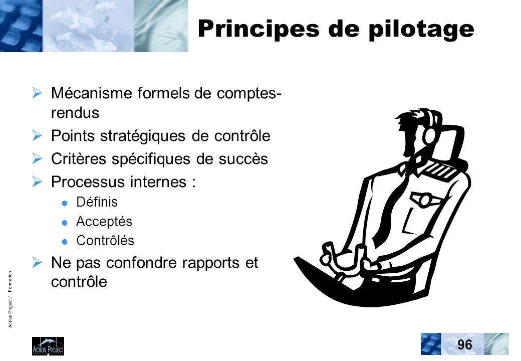 Action Project / Formation 96 Principes de pilotage Mécanisme formels de comptes- rendus Points stratégiques de contrôle Critères spécifiques de succès Processus internes : Définis Acceptés Contrôlés Ne pas confondre rapports et contrôle