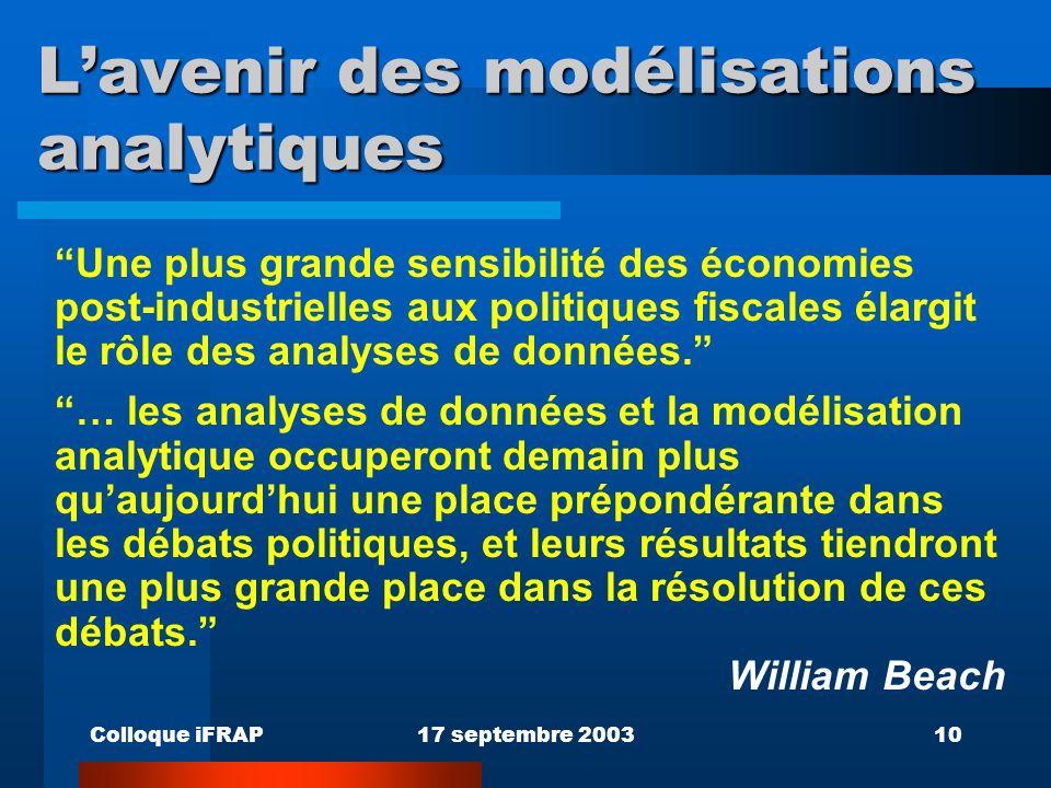 Colloque iFRAP17 septembre 200310 Lavenir des modélisations analytiques Une plus grande sensibilité des économies post-industrielles aux politiques fi