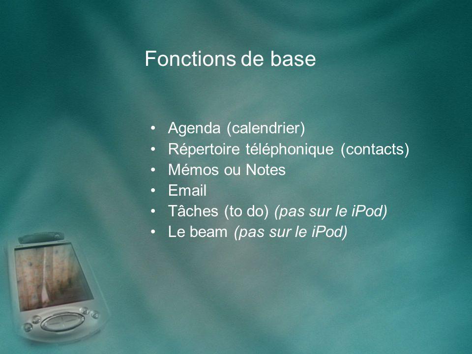 Fonctions de base Agenda (calendrier) Répertoire téléphonique (contacts) Mémos ou Notes Email Tâches (to do) (pas sur le iPod) Le beam (pas sur le iPod)