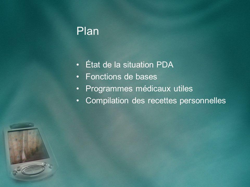 Plan État de la situation PDA Fonctions de bases Programmes médicaux utiles Compilation des recettes personnelles