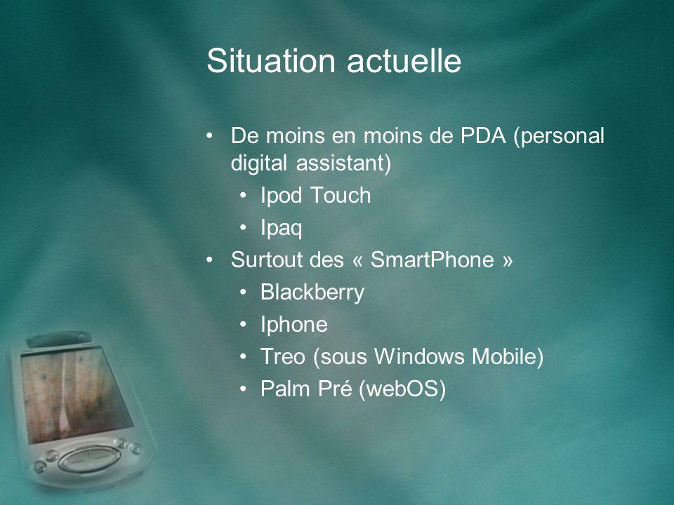 Situation actuelle De moins en moins de PDA (personal digital assistant) Ipod Touch Ipaq Surtout des « SmartPhone » Blackberry Iphone Treo (sous Windows Mobile) Palm Pré (webOS)