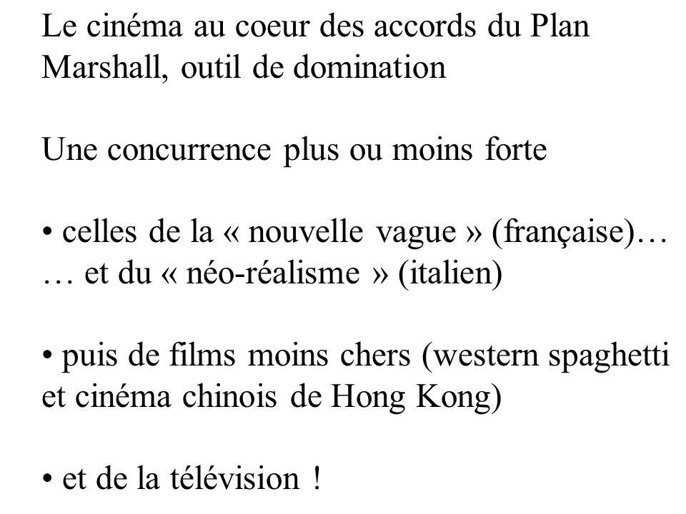Le cinéma au coeur des accords du Plan Marshall, outil de domination Une concurrence plus ou moins forte celles de la « nouvelle vague » (française)…