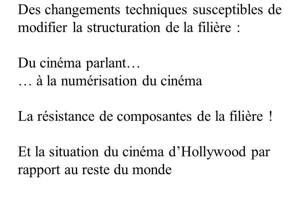 Des changements techniques susceptibles de modifier la structuration de la filière : Du cinéma parlant… … à la numérisation du cinéma La résistance de