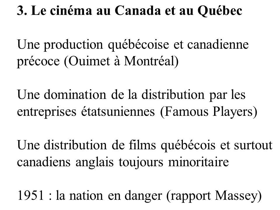 3. Le cinéma au Canada et au Québec Une production québécoise et canadienne précoce (Ouimet à Montréal) Une domination de la distribution par les entr