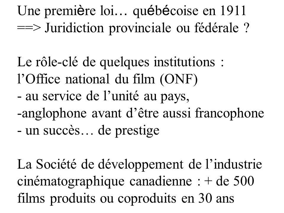 Une premi è re loi … qu é b é coise en 1911 ==> Juridiction provinciale ou fédérale ? Le rôle-clé de quelques institutions : lOffice national du film