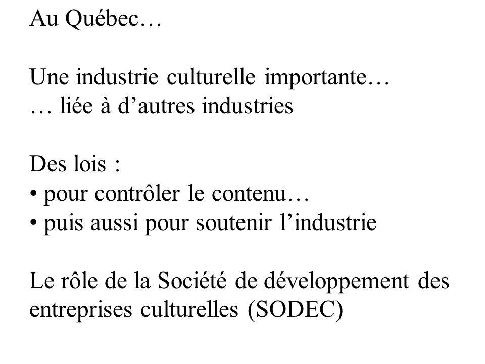 Au Québec… Une industrie culturelle importante… … liée à dautres industries Des lois : pour contrôler le contenu… puis aussi pour soutenir lindustrie