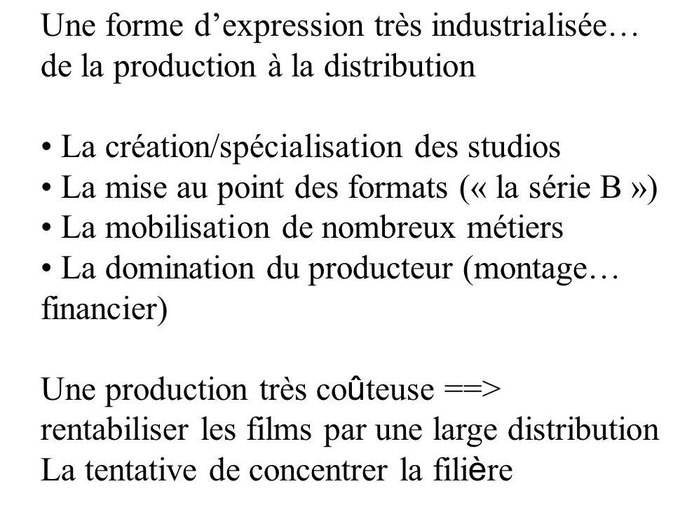 Une forme dexpression très industrialisée… de la production à la distribution La création/spécialisation des studios La mise au point des formats (« l