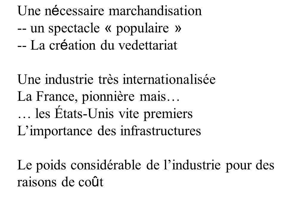 Une n é cessaire marchandisation -- un spectacle « populaire » -- La cr é ation du vedettariat Une industrie très internationalisée La France, pionniè