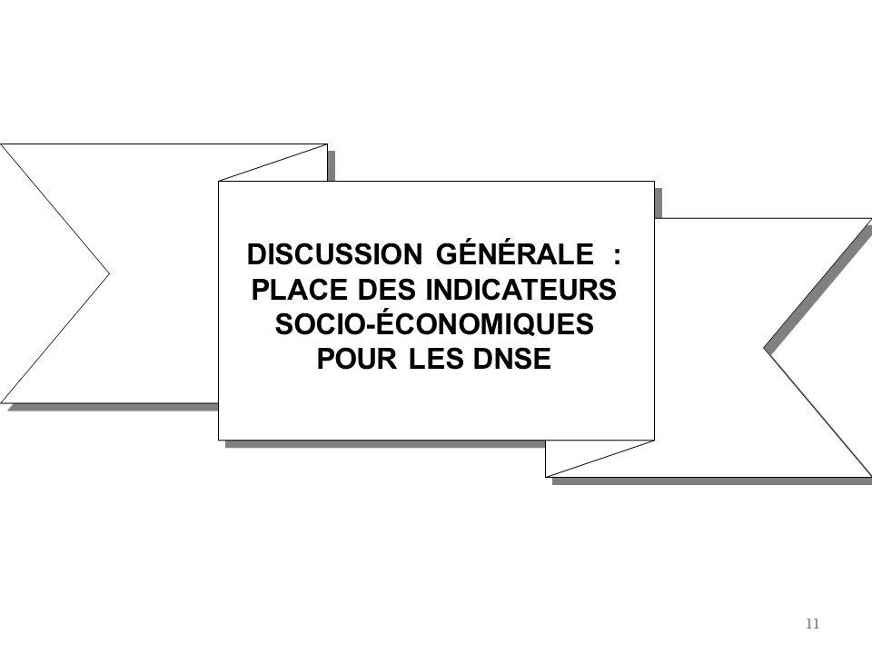 11 DISCUSSION GÉNÉRALE : PLACE DES INDICATEURS SOCIO-ÉCONOMIQUES POUR LES DNSE