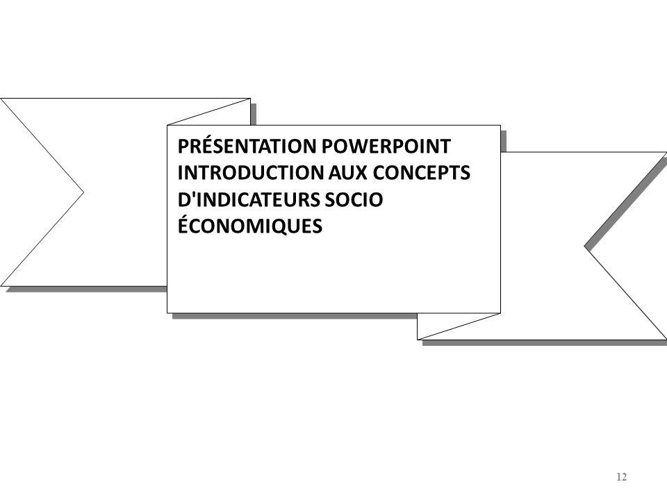 12 PRÉSENTATION POWERPOINT INTRODUCTION AUX CONCEPTS D'INDICATEURS SOCIO ÉCONOMIQUES