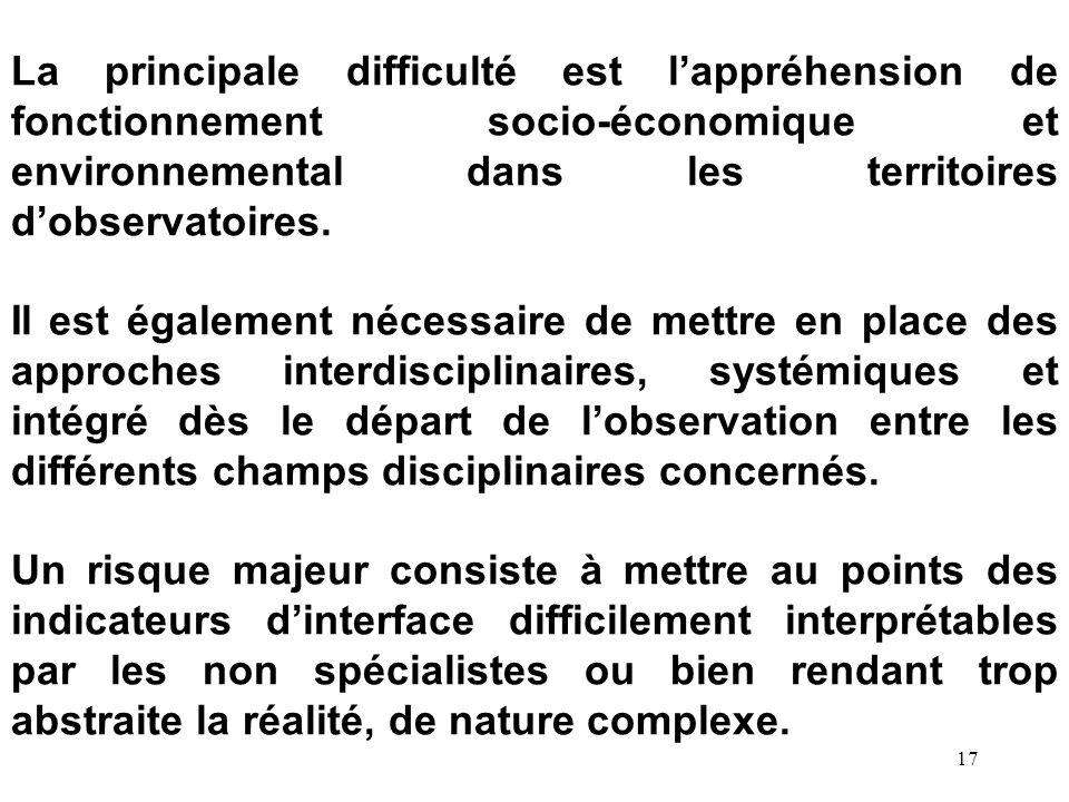17 La principale difficulté est lappréhension de fonctionnement socio-économique et environnemental dans les territoires dobservatoires. Il est égalem