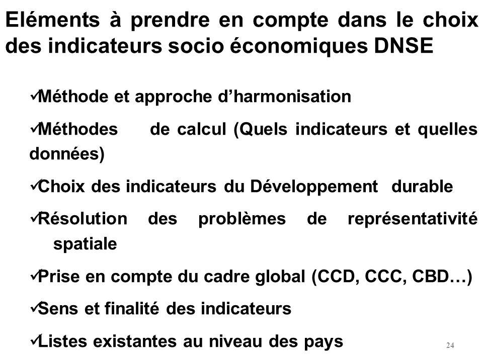 Eléments à prendre en compte dans le choix des indicateurs socio économiques DNSE Méthode et approche dharmonisation Méthodes de calcul (Quels indicat
