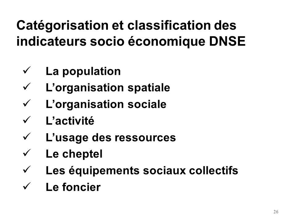 Catégorisation et classification des indicateurs socio économique DNSE La population Lorganisation spatiale Lorganisation sociale Lactivité Lusage des
