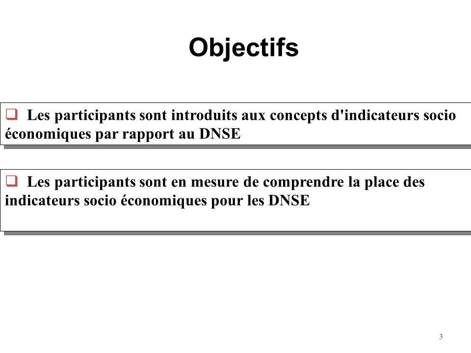3 Les participants sont introduits aux concepts d'indicateurs socio économiques par rapport au DNSE Objectifs Les participants sont en mesure de compr
