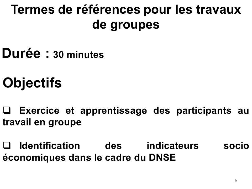 Termes de références pour les travaux de groupes Objectifs Exercice et apprentissage des participants au travail en groupe Identification des indicate