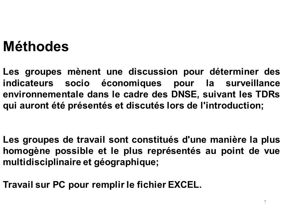 Méthodes Les groupes mènent une discussion pour déterminer des indicateurs socio économiques pour la surveillance environnementale dans le cadre des D