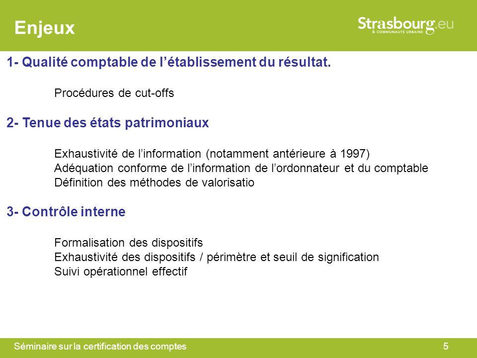 Séminaire sur la certification des comptes5 Enjeux 1- Qualité comptable de létablissement du résultat. Procédures de cut-offs 2- Tenue des états patri