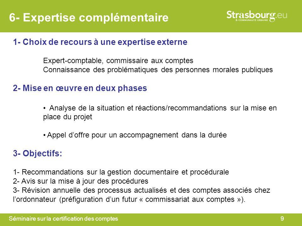 Séminaire sur la certification des comptes9 6- Expertise complémentaire 1- Choix de recours à une expertise externe Expert-comptable, commissaire aux