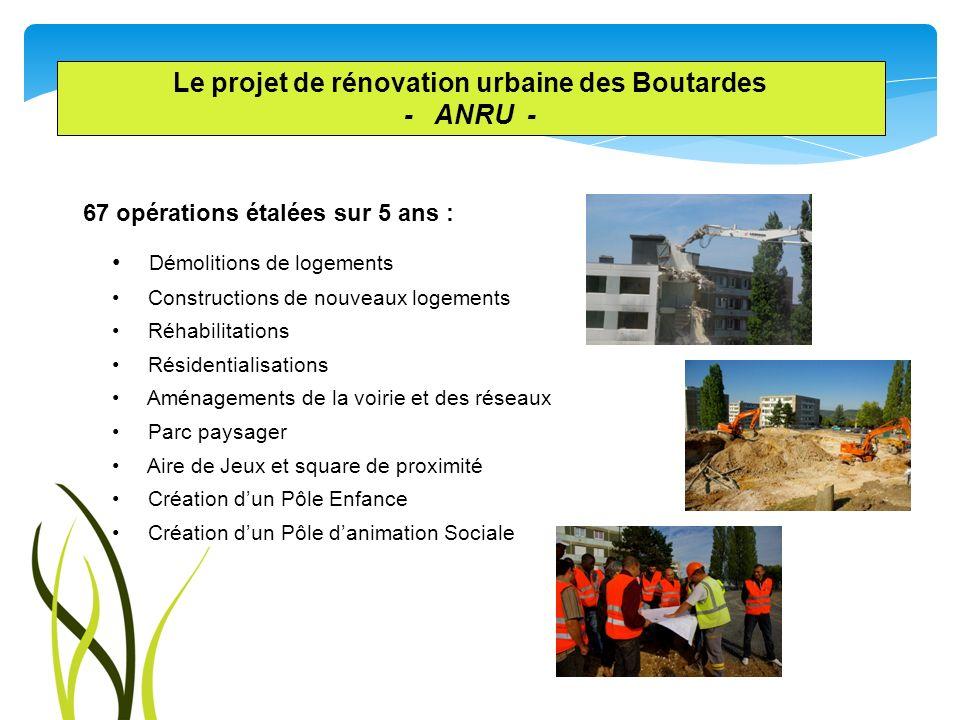 Le projet de rénovation urbaine des Boutardes - ANRU - 67 opérations étalées sur 5 ans : Démolitions de logements Constructions de nouveaux logements