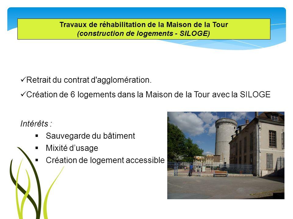 Travaux de réhabilitation de la Maison de la Tour (construction de logements - SILOGE) Retrait du contrat d'agglomération. Création de 6 logements dan