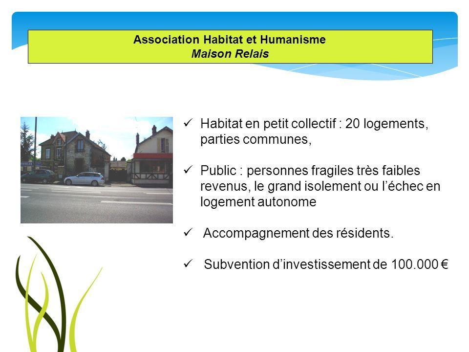 Association Habitat et Humanisme Maison Relais Habitat en petit collectif : 20 logements, parties communes, Public : personnes fragiles très faibles r