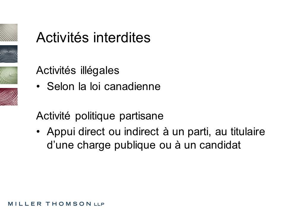 Activités interdites Activités illégales Selon la loi canadienne Activité politique partisane Appui direct ou indirect à un parti, au titulaire dune charge publique ou à un candidat