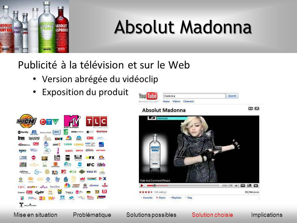 Absolut Madonna Publicité à la télévision et sur le Web Version abrégée du vidéoclip Exposition du produit Mise en situationProblématique Solutions possiblesSolution choisieImplications