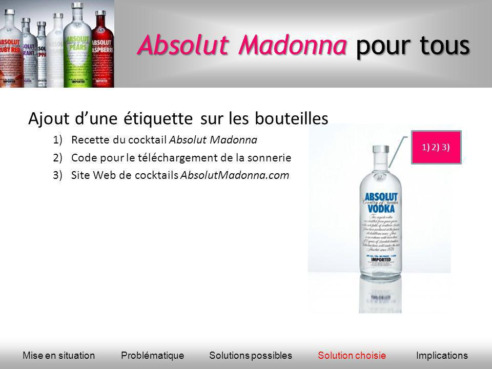 Absolut Madonna pour tous Ajout dune étiquette sur les bouteilles 1)Recette du cocktail Absolut Madonna 2)Code pour le téléchargement de la sonnerie 3)Site Web de cocktails AbsolutMadonna.com Mise en situationProblématique Solutions possiblesSolution choisieImplications 1) 2) 3)