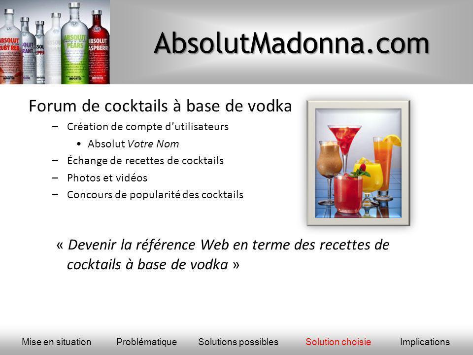 AbsolutMadonna.com Forum de cocktails à base de vodka –Création de compte dutilisateurs Absolut Votre Nom –Échange de recettes de cocktails –Photos et