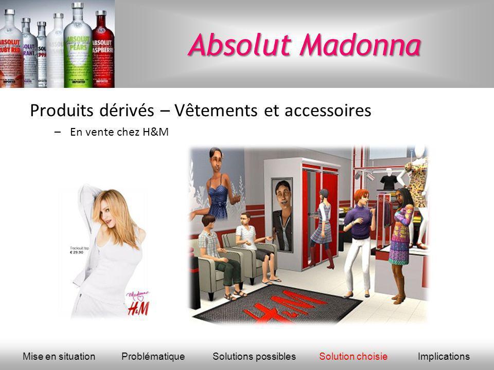 Absolut Madonna Produits dérivés – Vêtements et accessoires –En vente chez H&M Mise en situationProblématique Solutions possiblesSolution choisieImpli