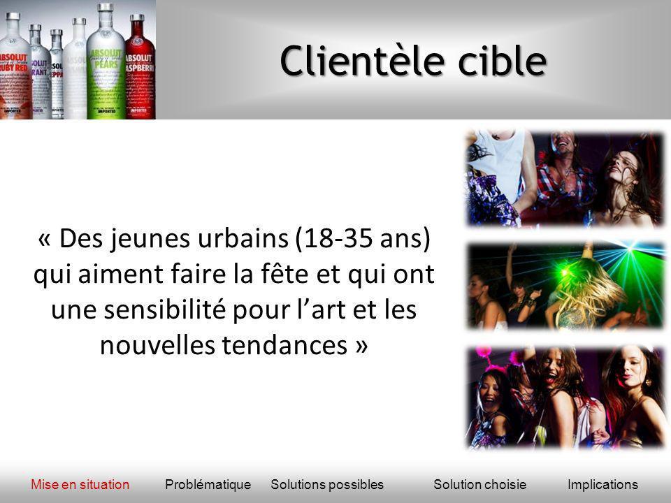 Clientèle cible « Des jeunes urbains (18-35 ans) qui aiment faire la fête et qui ont une sensibilité pour lart et les nouvelles tendances » Mise en si