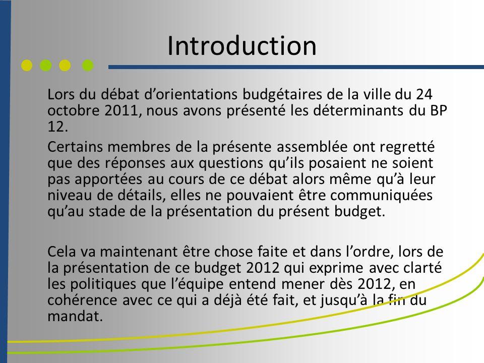 Introduction Lors du débat dorientations budgétaires de la ville du 24 octobre 2011, nous avons présenté les déterminants du BP 12.