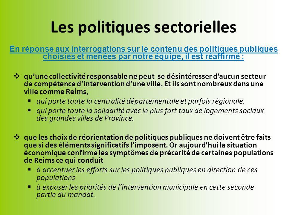 Les politiques sectorielles quune collectivité responsable ne peut se désintéresser daucun secteur de compétence dintervention dune ville.