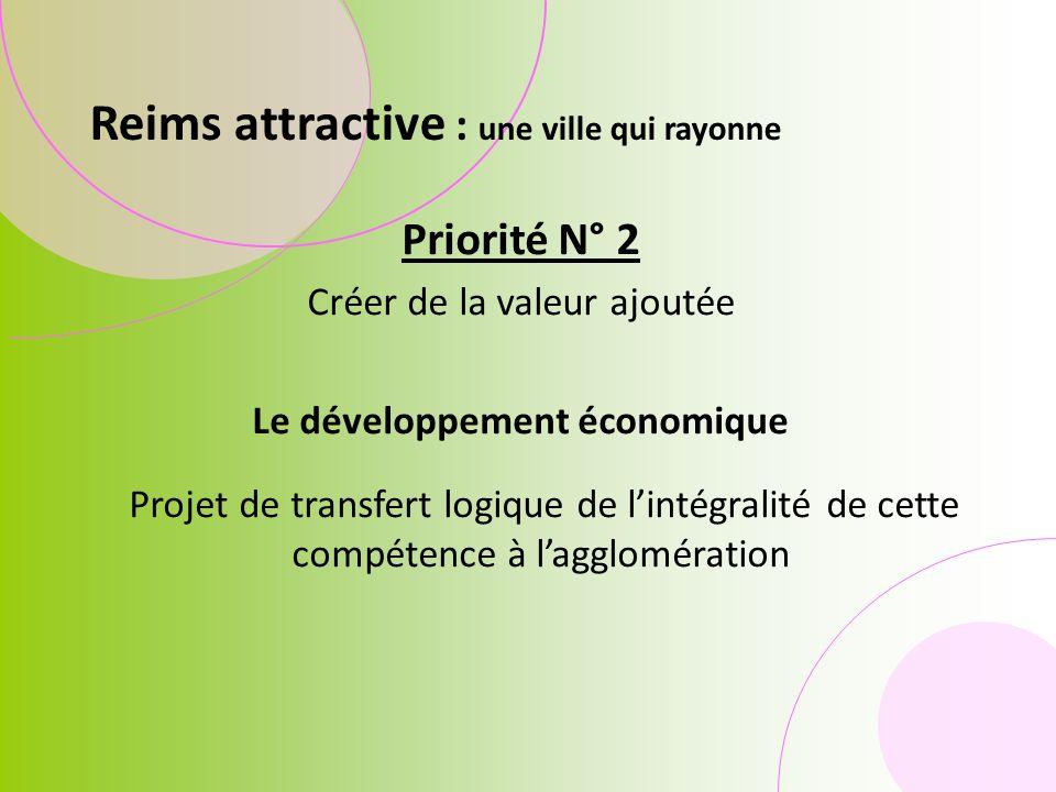 Priorité N° 2 Créer de la valeur ajoutée Le développement économique Projet de transfert logique de lintégralité de cette compétence à lagglomération Reims attractive : une ville qui rayonne