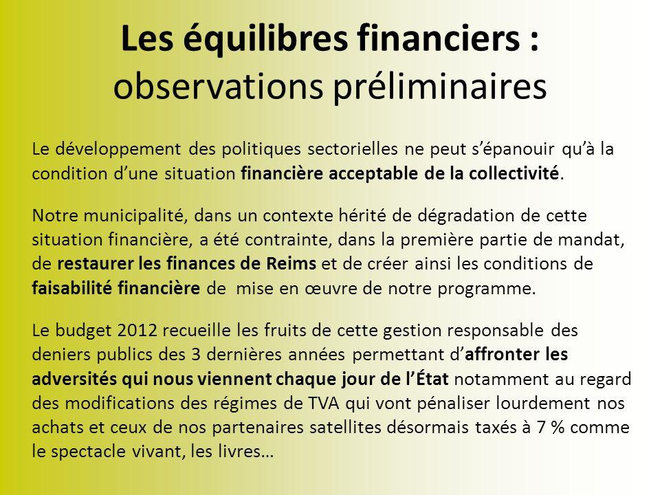 Les équilibres financiers : observations préliminaires Le développement des politiques sectorielles ne peut sépanouir quà la condition dune situation financière acceptable de la collectivité.