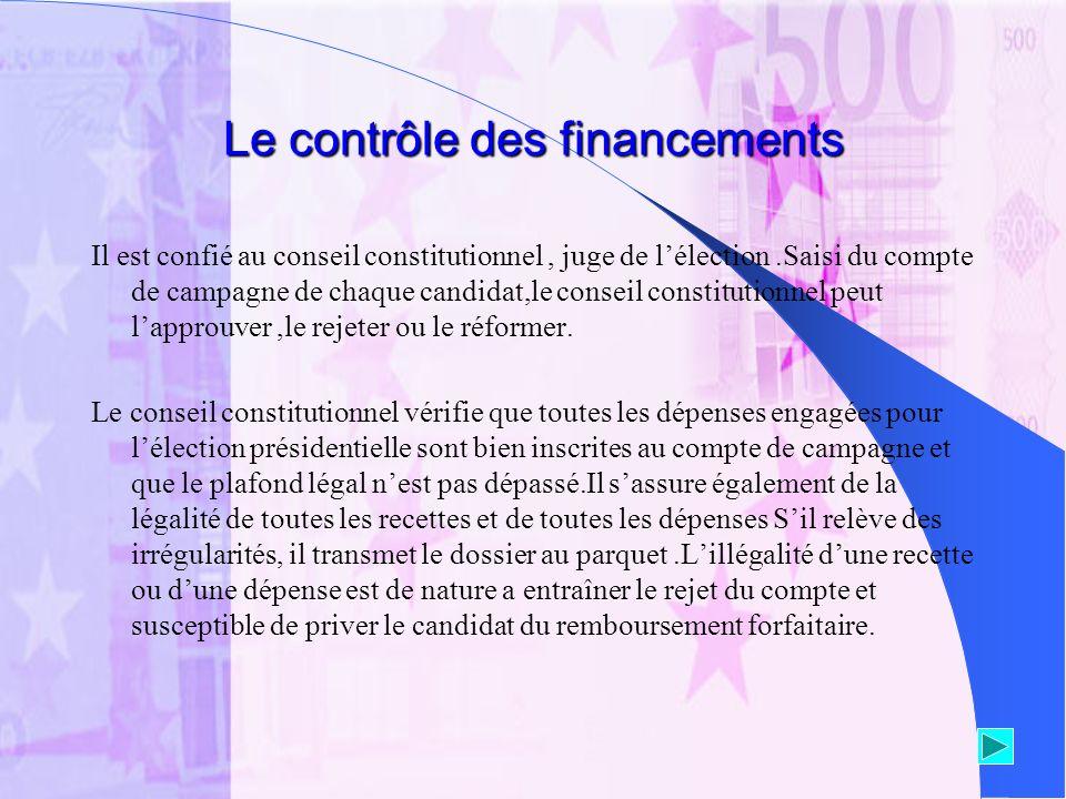 Le contrôle des financements Il est confié au conseil constitutionnel, juge de lélection.Saisi du compte de campagne de chaque candidat,le conseil con