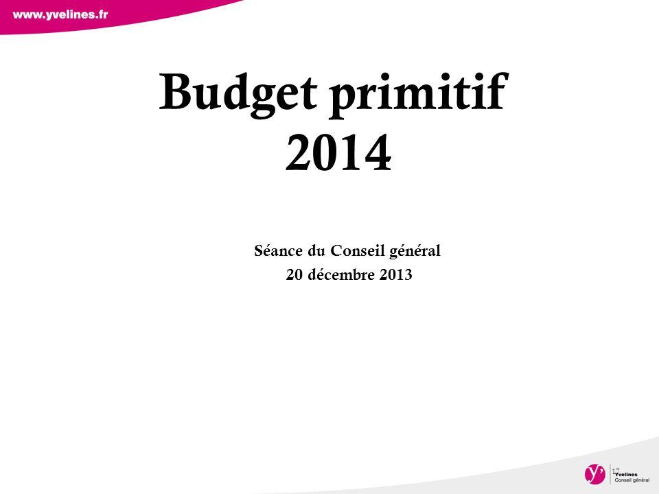 Budget primitif 2014 17 Séance du Conseil général 20 décembre 2013