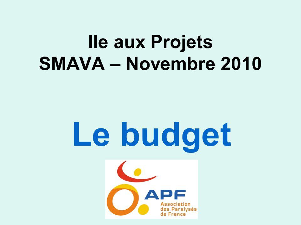 Ile aux Projets SMAVA – Novembre 2010 Le budget