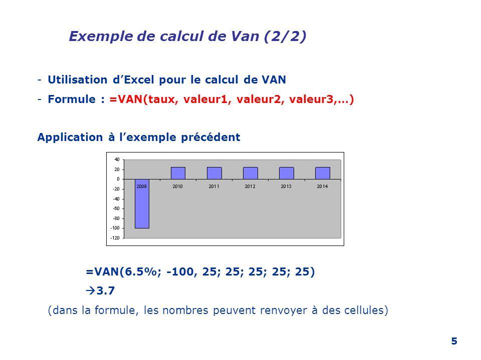 5 Exemple de calcul de Van (2/2) -Utilisation dExcel pour le calcul de VAN -Formule : =VAN(taux, valeur1, valeur2, valeur3,…) Application à lexemple p