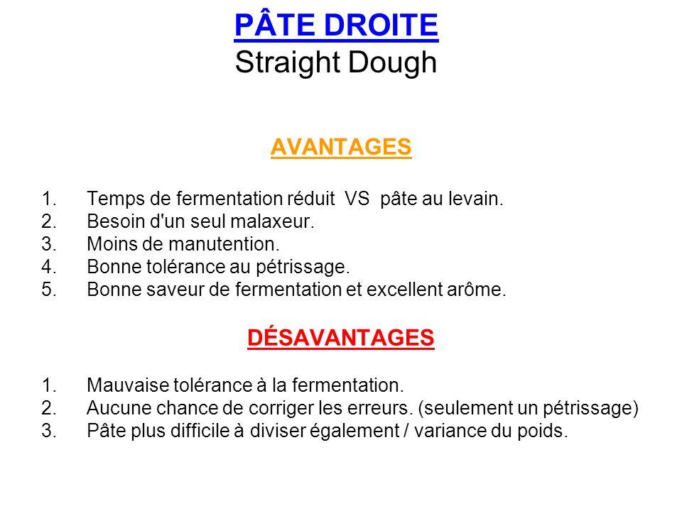 PÂTE DROITE Straight Dough AVANTAGES 1.Temps de fermentation réduit VS pâte au levain. 2.Besoin d'un seul malaxeur. 3.Moins de manutention. 4.Bonne to
