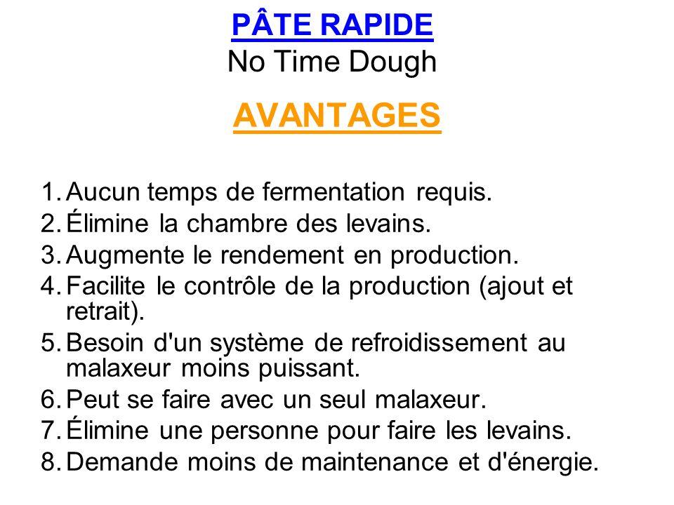 PÂTE RAPIDE No Time Dough AVANTAGES 1.Aucun temps de fermentation requis. 2.Élimine la chambre des levains. 3.Augmente le rendement en production. 4.F
